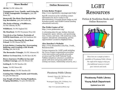 LGBT Resources pdf - Piscataway Public Library