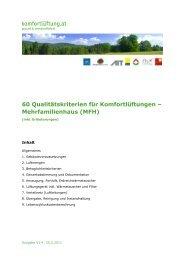 60 Qualitätskriterien Komfortlüftung MFH mit Erläuterungen