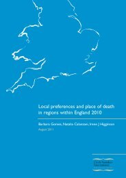 Local preferences and place of death in regions within England 2010