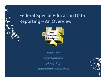 Federal Special Education Data Reporting Reporting – An Overview ...