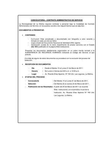 CONVOCATORIA – CONTRATO ADMINISTRATIVO DE SERVICIO ...