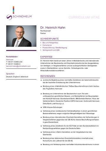 Dr. Heinrich Hahn: Rechtsanwalt Hannover - Schindhelm