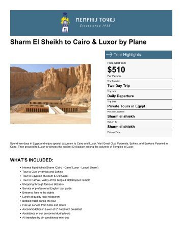 Sharm El Sheikh to Cairo & Luxor by Plane - Memphis Tours Egypt