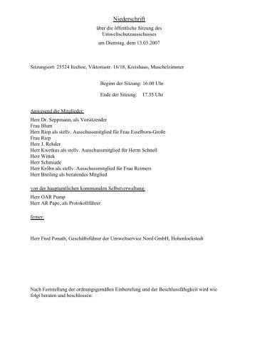 Niederschrift UA 13.03.07 - Kreis Steinburg