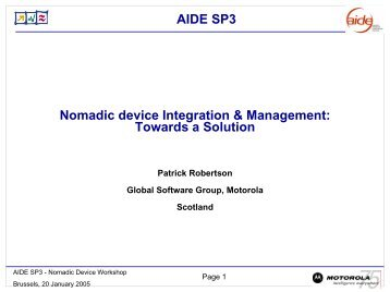 Nomadic Device Integration and Management - AIDE