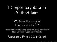 IR repository data in AuthorClaim - Open Library Society, Inc.