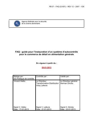 FAQ - guide pour l'instauration d'un système d'autocontrôle ... - FAVV