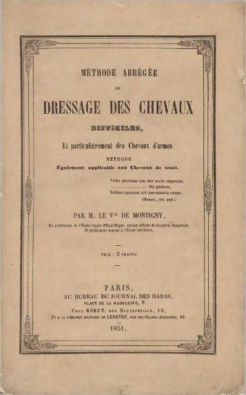 DRESSAGE DES CHEVAUX - Centre de documentation équestre