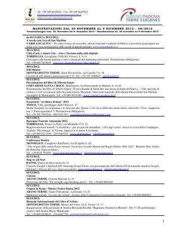 MANIFESTAZIONI DAL 30 NOVEMBRE AL 9 DICEMBRE 2012 – 48 ...