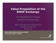 Value Proposition of the SHOP Exchange - State Coverage Initiatives