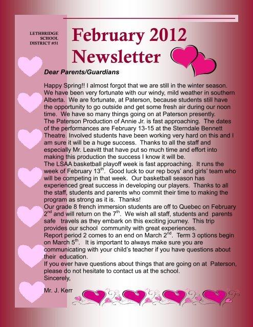 February 2012 Newsletter - Gilbert Paterson Community School