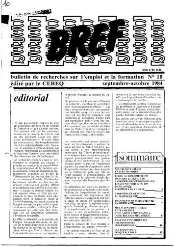 editorial sommaire - Centre d'études et de recherches sur les ...