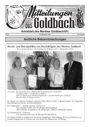 Amtliche Bekanntmachungen Amtsblatt des ... - Markt Goldbach