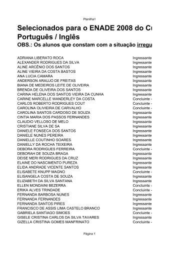 Selecionados para o ENADE 2008 do Curso de Let Português / Inglês