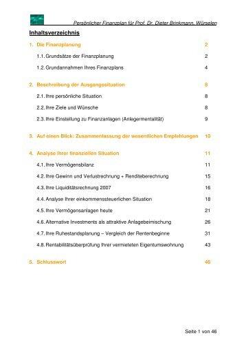 beispiel finanzplan brinkmann steco finanzberatung - Finanzplan Beispiel