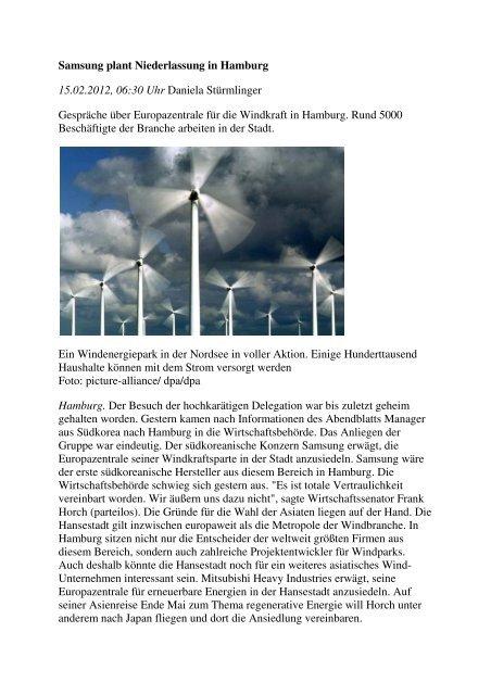 Gespräche über Europazentrale für die Windkraft in ... - NOK21