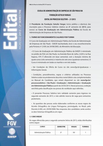 Edital de convocação - Processos seletivos FGV - Fundação Getulio ...