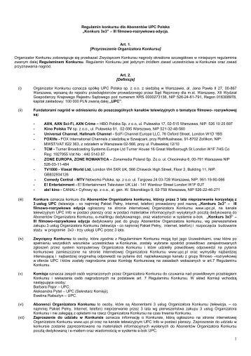"""""""Konkurs 3x3"""" – III filmowo-rozrywkowa edycja. Art. 1. - UPC Polska"""
