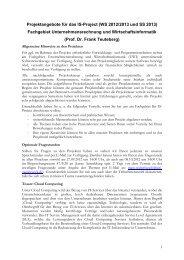 Projektangebote für das IS-Project (WS 2012/2013 und SS 2013 ...