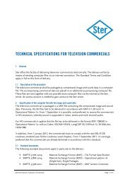 TECHNICAL SPECIFICATIONS FOR TELEVISION ... - Ster