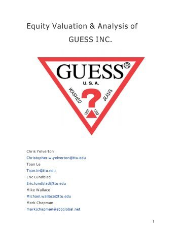 Equity Valuation & Analysis of GUESS INC. - Mark Moore