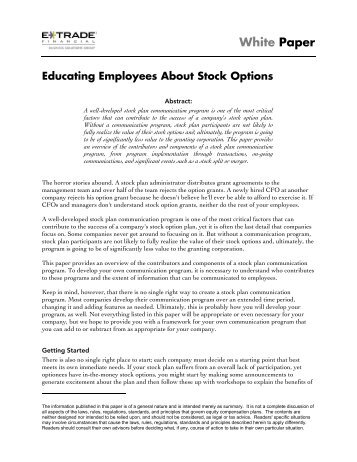 Employee stock options etrade