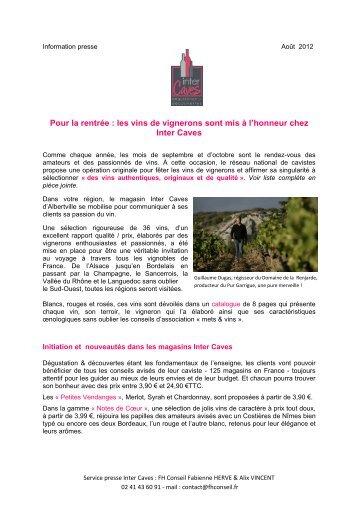 les vins de vignerons sont mis à l'honneur chez Inter ... - Vinomedia