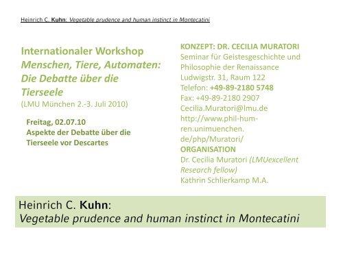 Vegetable prudence and human instinct in Montecatini - Seminar für ...