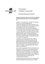 Frankfurt, 15. November 2007 – Standard Life unterstützt das ...