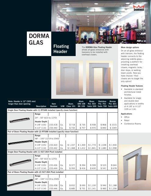 DORMA Glas Floating Header - CBP Magazine