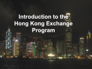 Introduction of the exchange programme to Hong Kong 2007