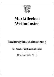 Nachtragshaushaltsplan 2011 - Weilmünster