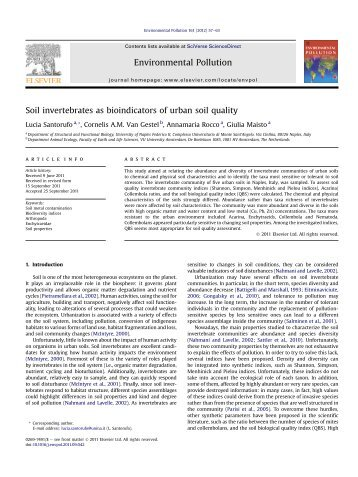 Adaptation of soil invertebrate to environmental extremes for Soil quality indicators