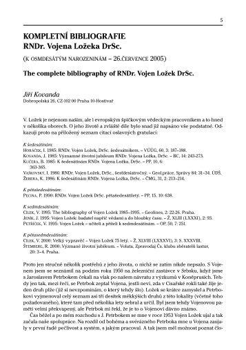 Kompletní bibliografie RNDr. Vojena Ložka DrSc. - Malacologica ...