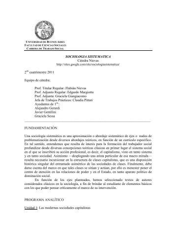 771- Sociologia Sistematica. Nievas-2011 - Carrera de Trabajo Social