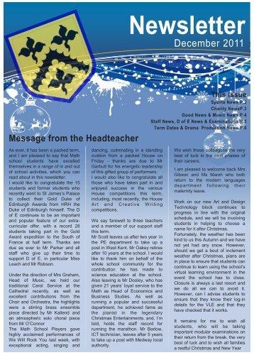december 2011 Newsletter web2 - Sir Joseph Williamson's ...
