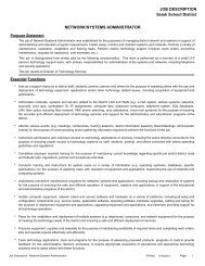 JOB DESCRIPTION NETWORK/SYSTEMS ADMINISTRATOR Selah ...