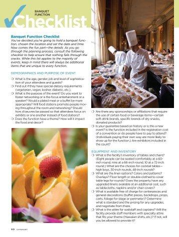 Banquet Function Checklist - Experient