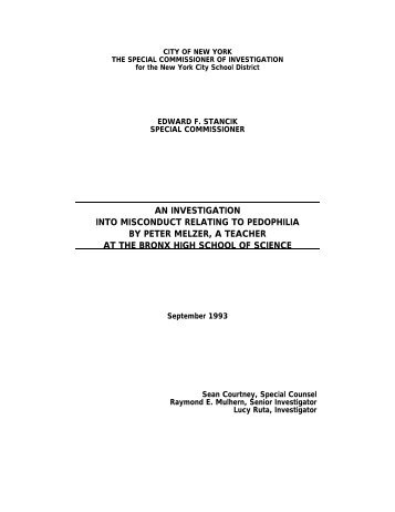 AN INVESTIGATION INTO MISCONDUCT RELATING TO - SCI - NYC