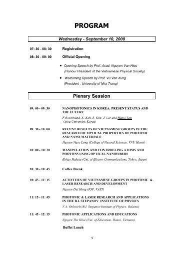 Chương trình chi tiết của Hội nghị