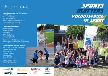 Read the Sport Matters Volunteer Handbook - Thanet District Council
