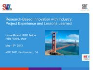 Experience with Research/Industry Modeling Projects - ICSE 2013