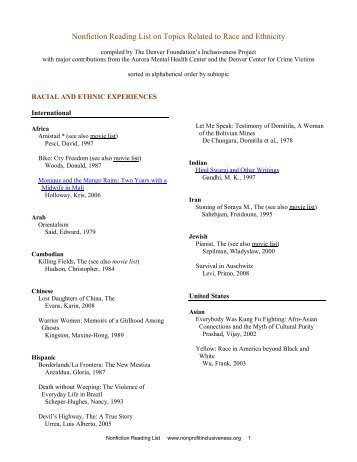 movie viewing list on topics related to race and ethnicity