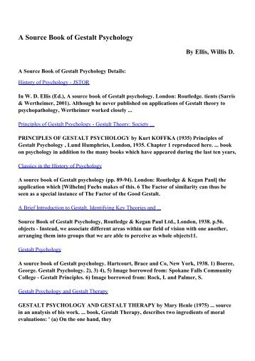 Download A Source Book of Gestalt Psychology pdf ebooks by Ellis ...
