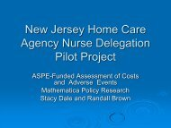 New Jersey Home Care Agency Nurse Delegation Pilot Project
