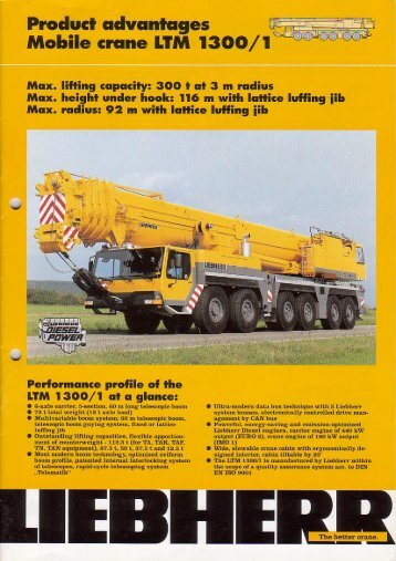 """Praducl advantages ___i Mobile crane LTM 1300/ 1 """" -"""