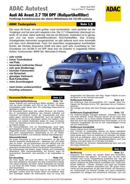 AVANT ALLROAD 2,7 TDI RUßPARTIKELFILTER  DPF AUDI A6