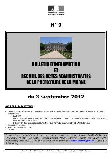 Recueil 9-2012 du 3 septembre - 7,51 Mb - Préfecture de la Marne