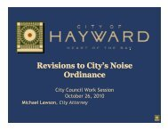 Revisions to City's Noise O dirnance Ordinance - City of HAYWARD