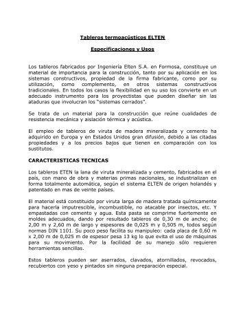 Tableros termoacústicos ELTEN Especificaciones y Usos Los ... - ICPA